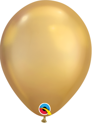 Qualatex 7 inch Round Chrome Gold Balloons 100ct, 7 inch Chrome, Qualatex, tmyers.com - T. Myers Magic Inc.