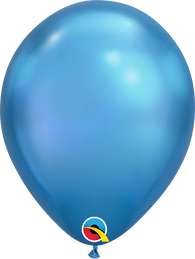 Qualatex 7 inch Round Chrome Blue Balloons 100ct