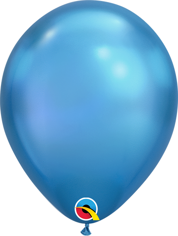 Qualatex 7 inch Round Chrome Blue Balloons 100ct, 7 inch Chrome, Qualatex, tmyers.com - T. Myers Magic Inc.