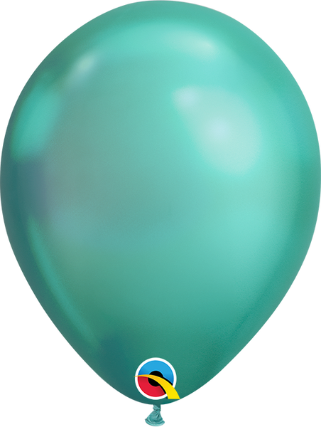 Qualatex 7 inch Round Chrome Green Balloons 100ct, 7 inch Chrome, Qualatex, tmyers.com - T. Myers Magic Inc.