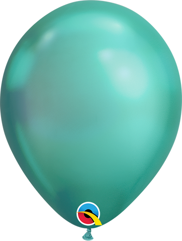 Qualatex 7 inch Round Chrome Green Balloons 100ct