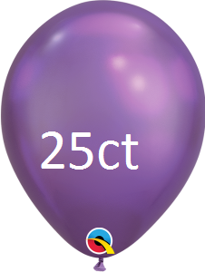 Qualatex 7 inch Round Chrome Purple Balloons 25 ct, 7 inch Chrome, Qualatex, tmyers.com - T. Myers Magic Inc.