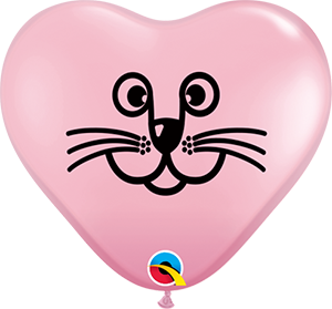 6Q HEART CAT FACE PINK, 6HQI, Qualatex, T. Myers Magic Inc. - T. Myers Magic Inc.