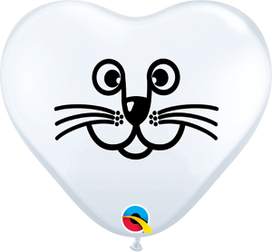6Q HEART CAT FACE WHITE, 6HQI, Qualatex, T. Myers Magic Inc. - T. Myers Magic Inc.