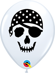 "5"" Round Qualatex Pirate Skull Face-100 Count, 5RQI, Qualatex, tmyers.com - T. Myers Magic Inc."
