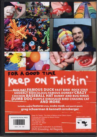 Keep On Twistin' DVD, DVD, GILBERT ADAMS, tmyers.com - T. Myers Magic Inc.