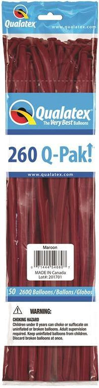 260Q Pak! Fashion Tone Maroon -50 Count, 260Q-Pak, Qualatex, T. Myers Magic Inc. - T. Myers Magic Inc.
