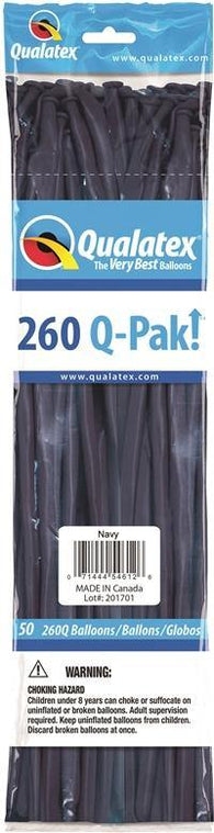 260Q Pak! Fashion Tone Navy -50 Count, 260Q-Pak, Qualatex, tmyers.com - T. Myers Magic Inc.