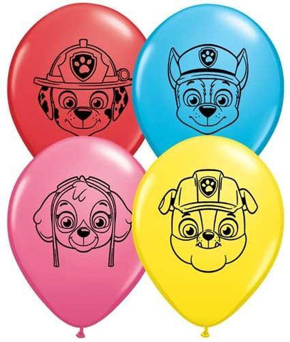 "5"" Round Qualatex Paw Patrol Face Assortment-100 Count, 5RQI, Qualatex, tmyers.com - T. Myers Magic Inc."
