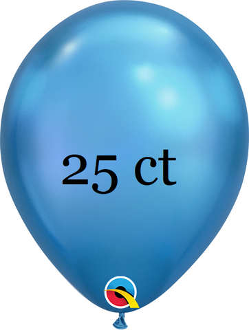Qualatex 7 inch Round Chrome Blue Balloons 25ct, 7 inch Chrome, Qualatex, tmyers.com - T. Myers Magic Inc.