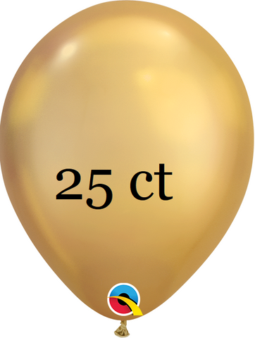 Qualatex 7 inch Round Chrome Gold Balloons 25 ct, 7 inch Chrome, Qualatex, tmyers.com - T. Myers Magic Inc.