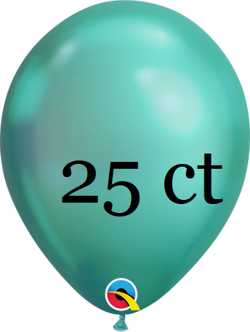 Qualatex 7 inch Round Chrome Green Balloons 25 ct, 7 inch Chrome, Qualatex, tmyers.com - T. Myers Magic Inc.