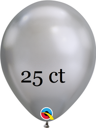 Qualatex 7 inch Round Chrome Silver Balloons 25 ct