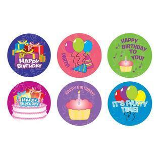 """Happy B-Day"" ROLL STICKERS 100/RL, Stickers, tmyers.com, T. Myers Magic Inc. - T. Myers Magic Inc."