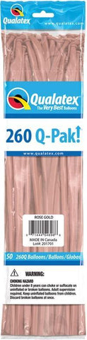 260Q Pak! Metallic Tone Rose Gold -50 Count, 260Q-Pak, Qualatex, tmyers.com - T. Myers Magic Inc.