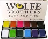 WB Large Essentials Palette-12 Piece, Wolfe Paint, WolfeFX, tmyers.com - T. Myers Magic Inc.