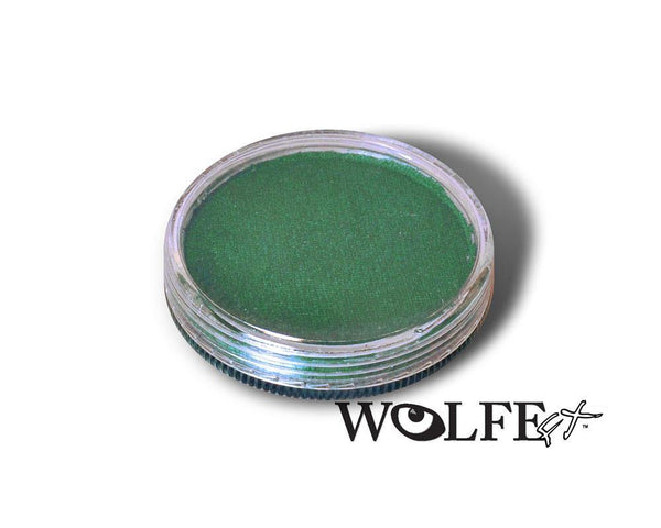 WB Hydrocolor Essentials Cake Metallic Forest green  -30g, Wolfe Paint, WolfeFX, tmyers.com - T. Myers Magic Inc.