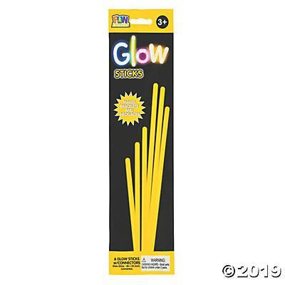 "8"" Glow Jewelry Sticks Yellow 6 Ct, Accessories, T. Myers, tmyers.com - T. Myers Magic Inc."