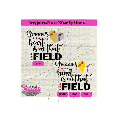 Granna's Heart Is On That Field | Split Heart Baseball - Transparent PNG, SVG  - Silhouette, Cricut, Scan N Cut