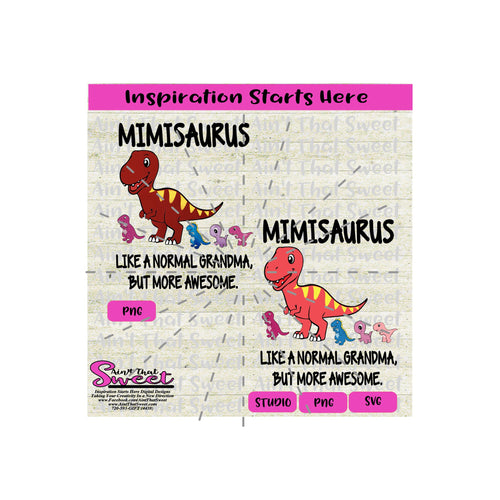 Mimisaurus | Like A Normal Grandma But More Awesome | Kid Dinosaurs - Transparent PNG, SVG  - Silhouette, Cricut, Scan N Cut