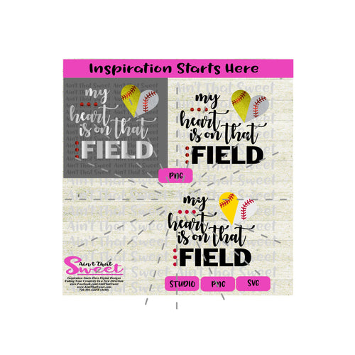 My Heart Is On That Field | Split Heart Baseball - Transparent PNG, SVG  - Silhouette, Cricut, Scan N Cut