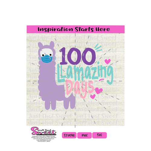 100 Llamazing Days, Llama with Mask - Transparent PNG, SVG  - Silhouette, Cricut, Scan N Cut