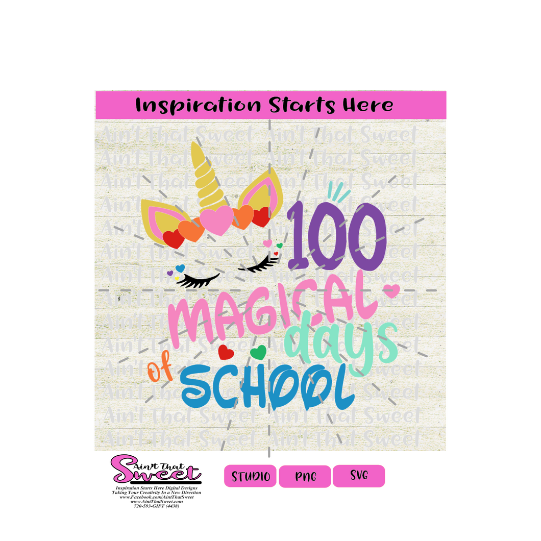 100 Magical Days of School - Unicorn, Gold Horn/Ears, Multi Colored Hearts - Transparent PNG, SVG  - Silhouette, Cricut, Scan N Cut