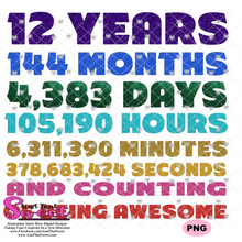 12 Years, 144 Months, 4383 Days, Etc and Counting -Transparent PNG, SVG