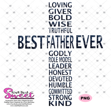 Best Father Ever in Cross Shape - Transparent PNG, SVG  - Silhouette, Cricut, Scan N Cut