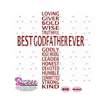 Best Godfather Ever in Cross Shape - Transparent PNG, SVG  - Silhouette, Cricut, Scan N Cut