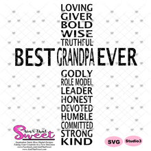Best Grandpa Ever in Cross Shape - Transparent PNG, SVG  - Silhouette, Cricut, Scan N Cut