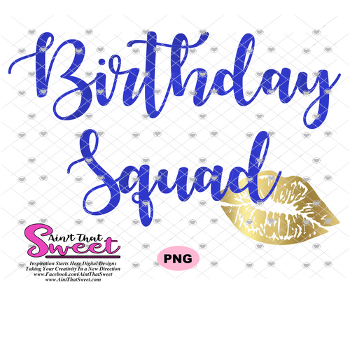 Birthday Squad-Lips Gold and Blue -  Transparent PNG, SVG