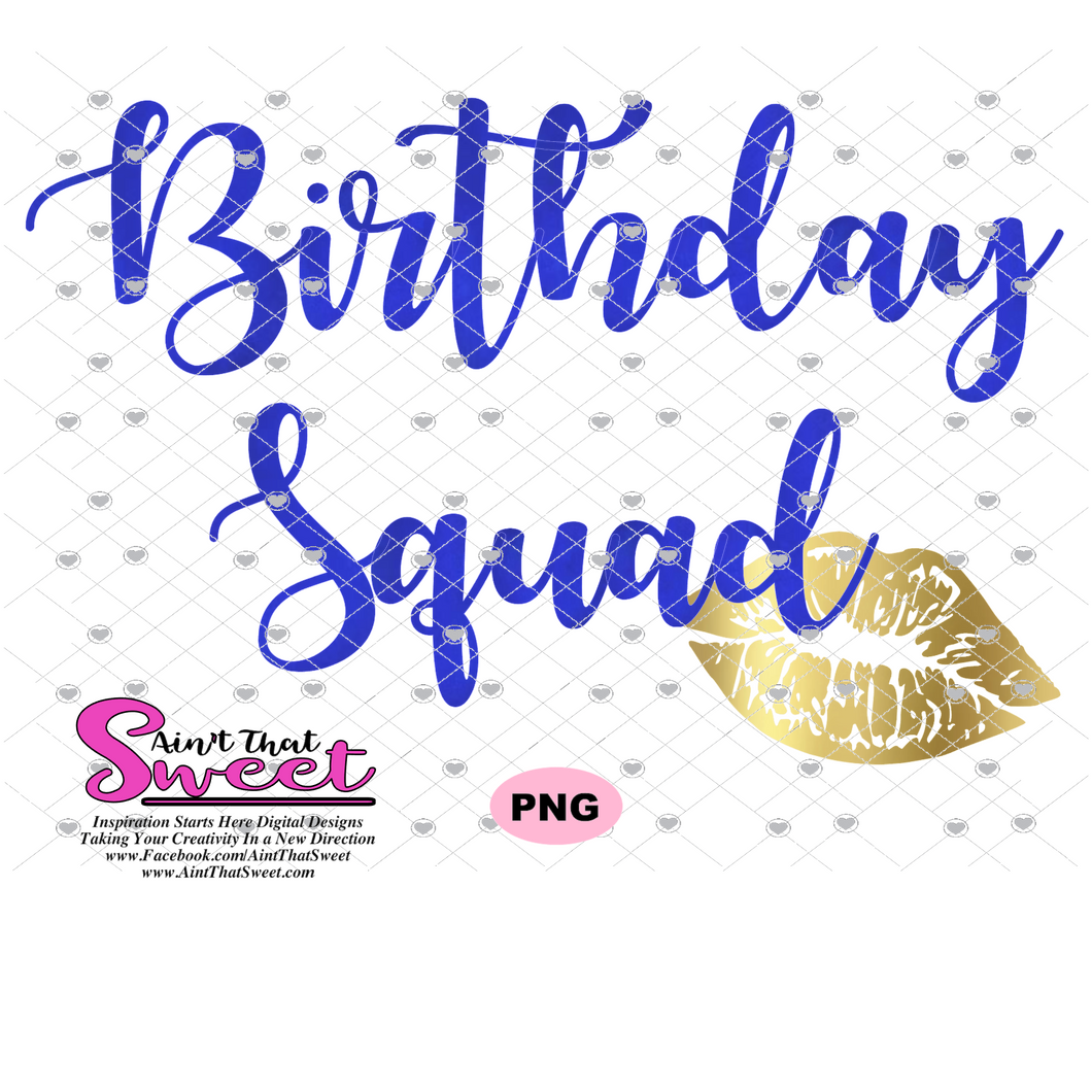 Birthday SquadLips Gold and Blue -  Transparent PNG, SVG