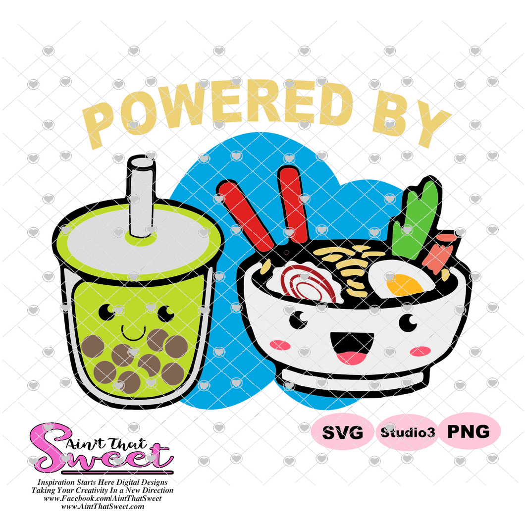 Bubble Tea & Ramen Bowl - Powered By - Transparent PNG, SVG  - Silhouette, Cricut, Scan N Cut
