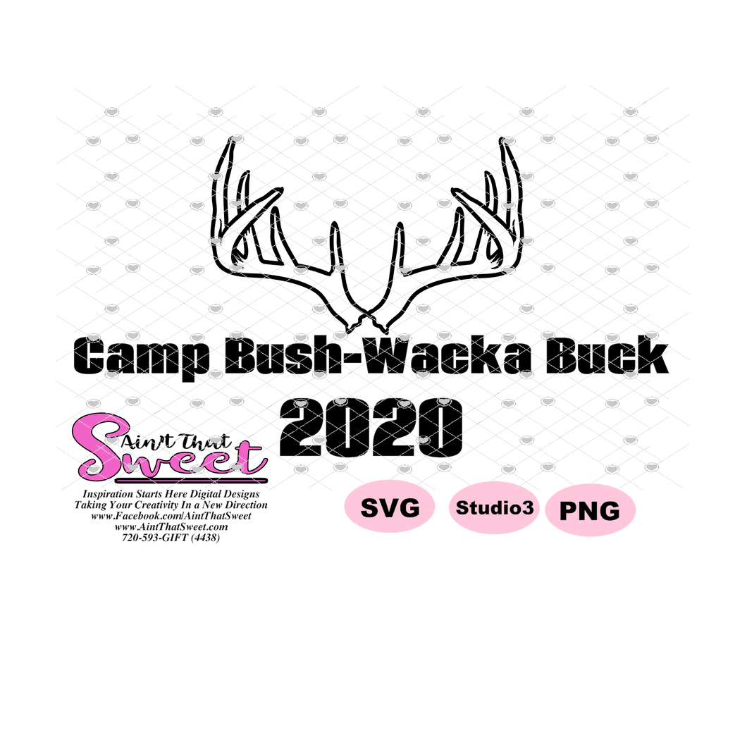 Camp Bush-Wacka Buck 2020 Antlers - Transparent PNG, SVG  - Silhouette, Cricut, Scan N Cut