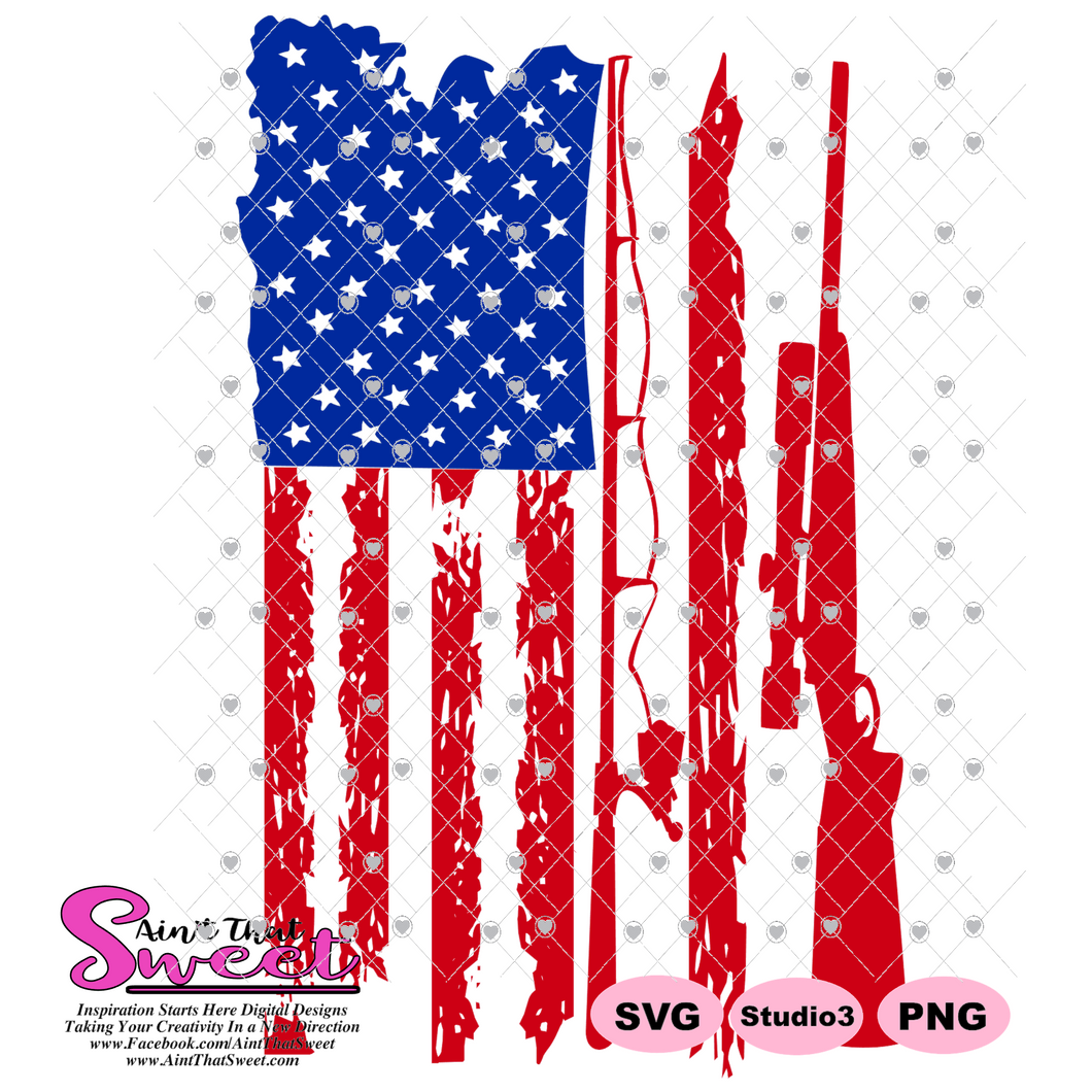 Distressed Flag With Fishing Pole and Rifle - Transparent PNG, SVG - Silhouette, Cricut, Scan N Cut