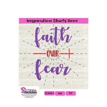 Faith Over Fear - Sideways Cross - Transparent PNG, SVG  - Silhouette, Cricut, Scan N Cut