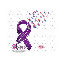 Feather Ribbon with Butterflies In Flight - Cancer Awareness - SVG, Transparent PNG, Cricut, Silhouette