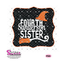 Fourth Sanderson Sister With Witch Hat and Broom - Transparent PNG, SVG - Silhouette, Cricut, Scan N Cut
