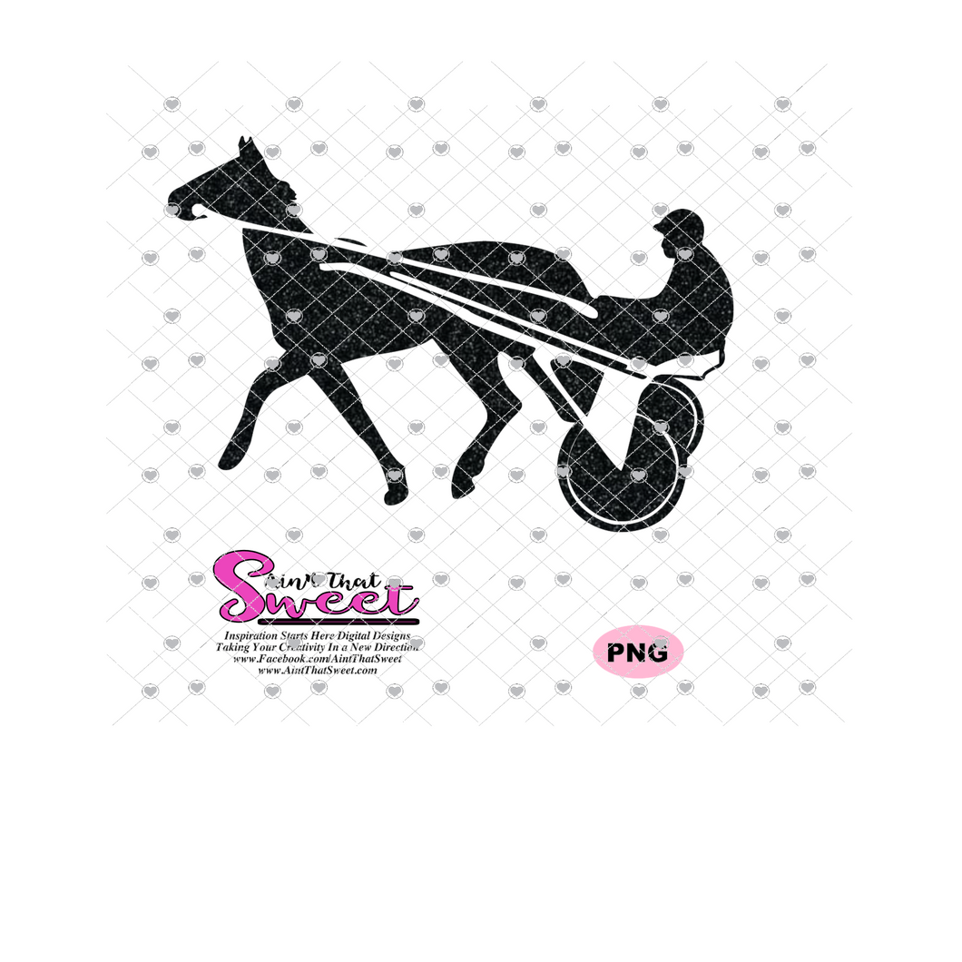 Harness Racing Horse and Driver, version 2 - Transparent PNG, SVG - Silhouette, Cricut, Scan N Cut