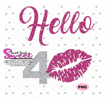 Hello 40 with Lips - Transparent PNG, SVG  - Silhouette, Cricut, Scan N Cut