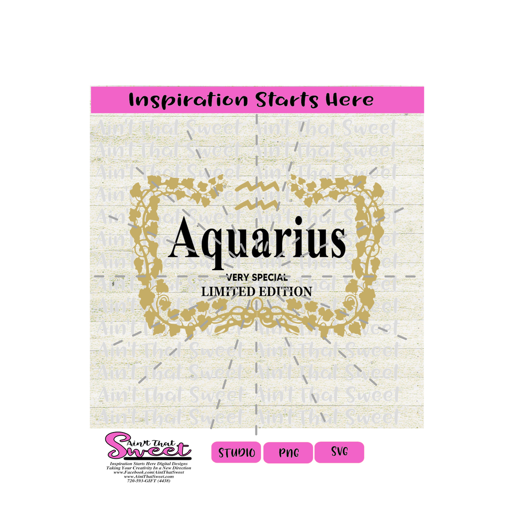 Henny Border with Aquarius (Very Special Limited Edition) -Transparent PNG, SVG  - Silhouette, Cricut, Scan N Cut