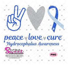 Hydrocephalus Awareness-Peace Love Cure - Transparent PNG, SVG