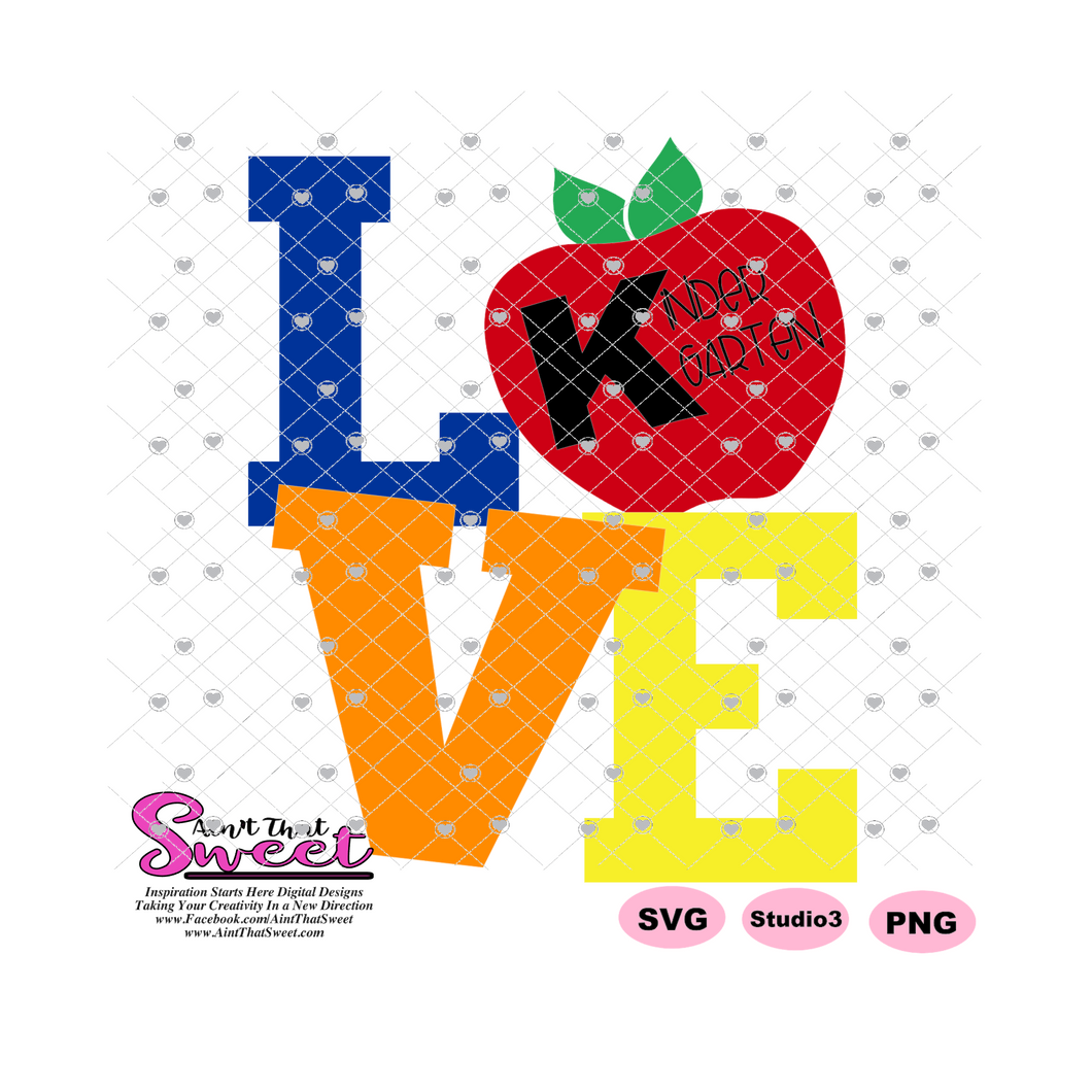 LOVE Kindergarten with Apple- Transparent PNG, SVG  - Silhouette, Cricut, Scan N Cut