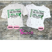 Kidney Disease: I Will Fight Stay Strong Win Warrior - Transparent PNG, SVG - Silhouette, Cricut, Scan N Cut