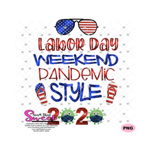 Labor Day Weekend Pandemic Style with Flip Flops and Aviator Sunglasses - Transparent PNG, SVG  - Silhouette, Cricut, Scan N Cut