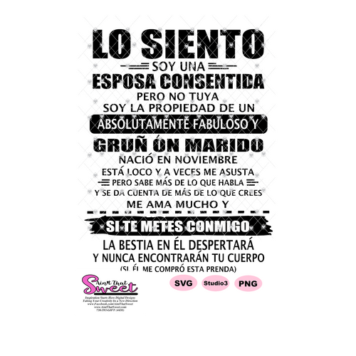 Lo Siento Soy Una Esposa Consentida- Spanish - Transparent PNG, SVG  - Silhouette, Cricut, Scan N Cut