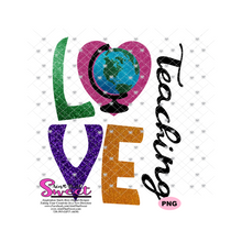 Love Teaching Globe - Transparent PNG, SVG  - Silhouette, Cricut, Scan N Cut