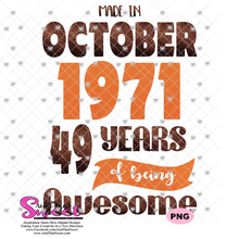 Made In October 1971 - Transparent PNG, SVG - Silhouette, Cricut, Scan N Cut