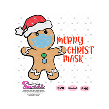 Merry Christ Mask Masked Gingerbread Man - Transparent PNG, SVG  - Silhouette, Cricut, Scan N Cut